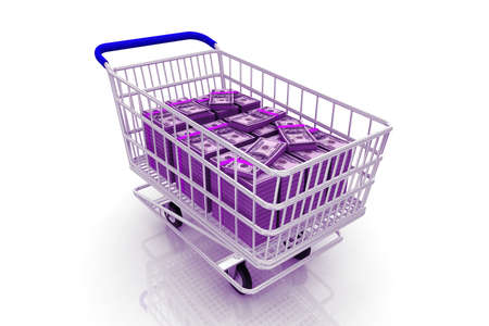 Shopping cart with dollars inside. Concept of money  photo