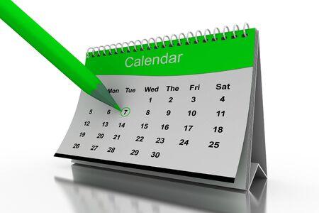 calendario escritorio: Calendario de escritorio 3D en fondo blanco