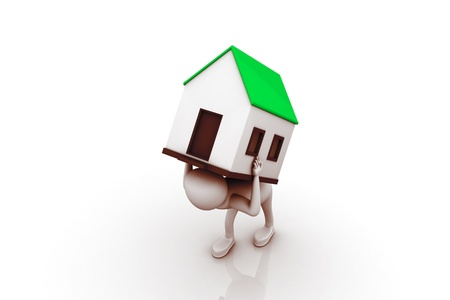 porter house: men carry house on back. Isolated 3D image  Stock Photo