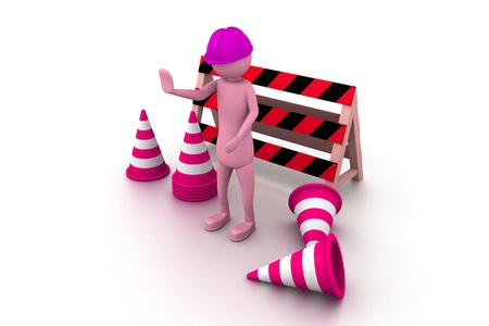3d man worker STOP Stock Photo - 9259552