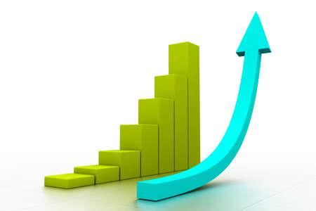 stimulus: 3d graph showing rise in profits