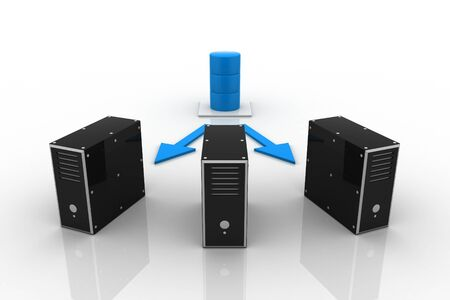 Three server connected with a database server. Stock Photo - 9254143