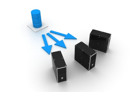 meshwork: Three server connected with a database server. Stock Photo