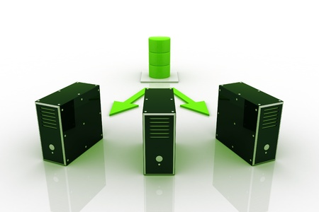 Three server connected with a database server. Stock Photo - 9254147