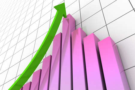 financial business stat and arrow 3d Stock Photo - 9254245
