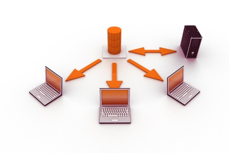 meshwork: Server - Database Concept with Laptops.  Stock Photo