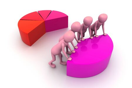 co operation: 3d pie chart for teamwork concept