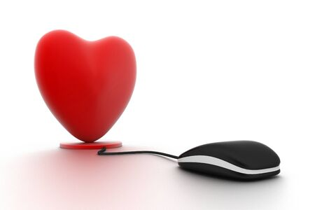 internet love: Heart connected to a computer mouse