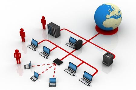 diagrama: La red de ordenadores Foto de archivo
