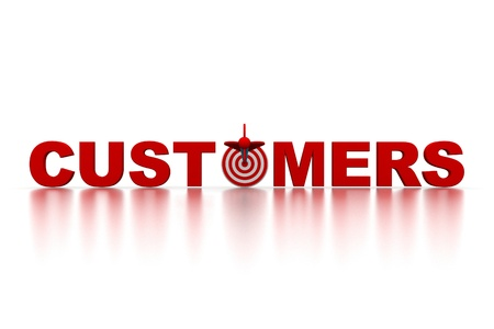 direct: The word Customers with a target Stock Photo