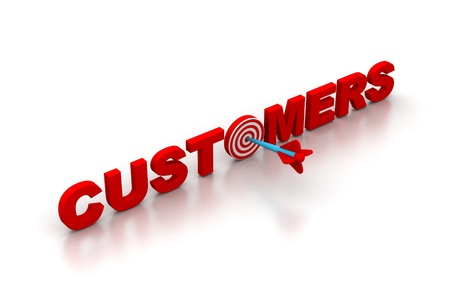targeting: The word Customers with a target Stock Photo