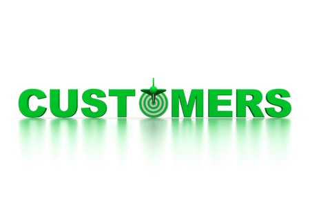 The word Customers with a target photo