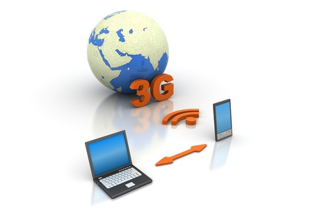 3g: online through 3G modem mobile Stock Photo