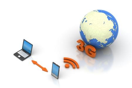 modem: online through 3G modem mobile Stock Photo