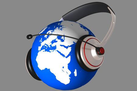 A headset on world globe in isolated background  photo