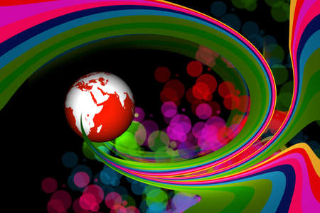 3d rendering of abstract globe in digital background  photo