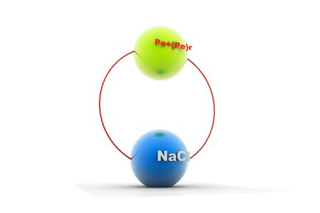 Digital illustration of NaCl Pe+(pe)r in isolated  background Stock Illustration - 9428866
