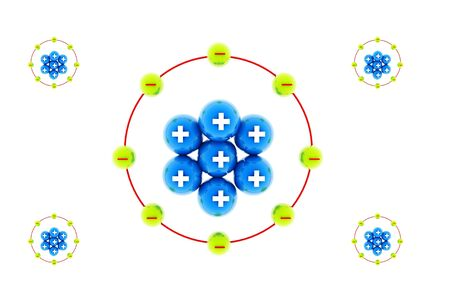 positives:  3d rendering of atom model in isolated background