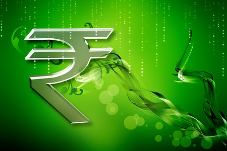 Indian rupee sign in color abstract background Stock Photo - 9427930