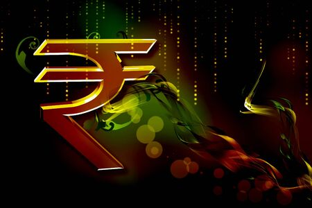 rupee: Indian rupee sign in color abstract background Stock Photo