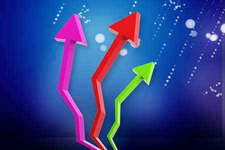 3d arrows shows  business growth  photo