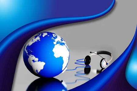 hands free device: A headset on world globe in abstract  background