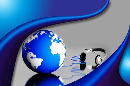 hands free phone: Un auricular en globo mundial fondo abstracto
