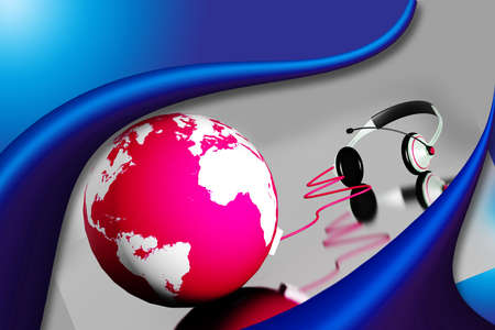 A headset on world globe in abstract  background  photo