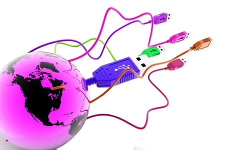 tuned: USB  cable connecting the world in isolated background