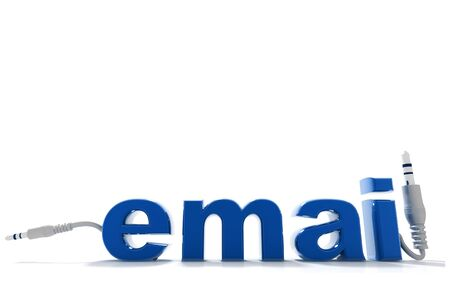 web portal: 3d rendering of electrical chord with email letters