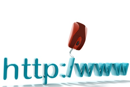 Mouse connected to http text in isolated background Stock Photo - 9428421