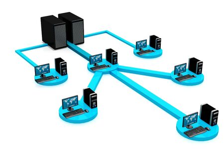 Computer Network in isolated background Stock Photo - 9428380