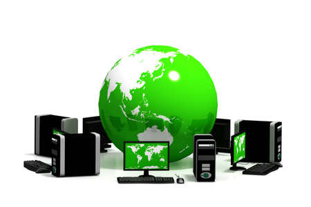 Global Computer Network in isolated background   photo