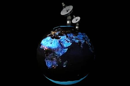Satellite dish on earth in isolated black background  photo
