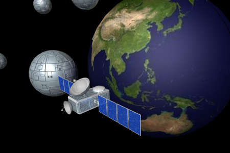 Communication Satellite in space in background photo
