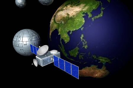 Communication satellite in earth orbit with earth in background  photo