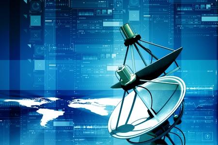 通信: 衛星放送受信アンテナとデジタル抽象的な背景の地球 写真素材