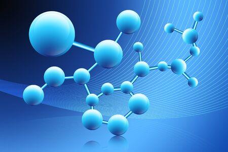 Ilustración digital del resumen molécula Foto de archivo