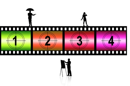 Blank film strip  with artist in isolated background  photo