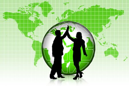 Man and women standing in frond of world  photo