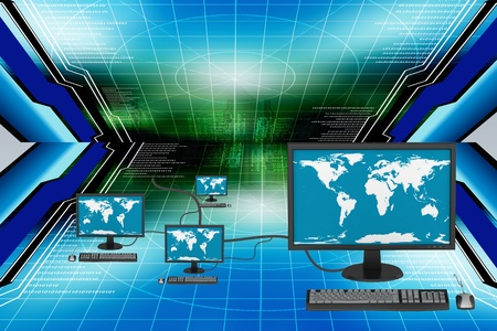 computer monitor: Global Computer Network in abstract  background   Stock Photo