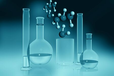 Digital illustration of lab equipment in colour background  illustration