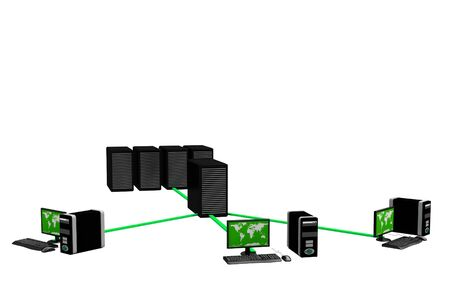 network server: Computer Network in isolated background