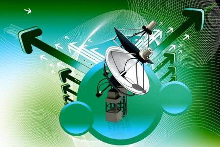 radio tower: Satellite dish and earth in digital abstract  background  Stock Photo