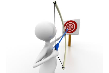 arc fleche: 3D archer homme  Banque d'images