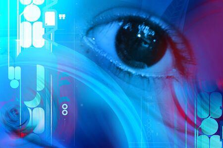 laser focus: eye concept in attractive background