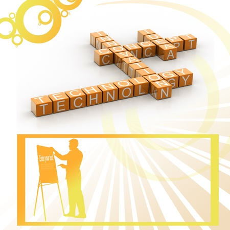 3d illustration of innovation related words on cubes in attractive background  illustration
