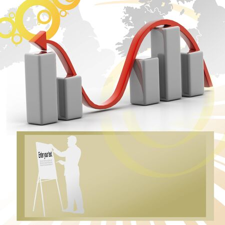 3d business graph in attractive background photo