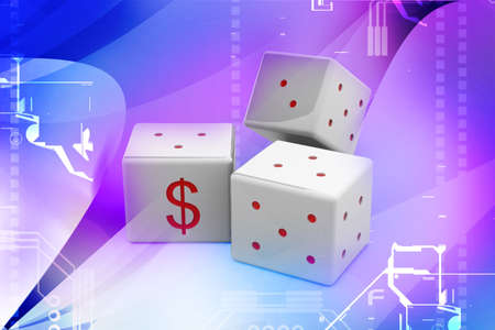 violate: Dollar dice in abstract background Stock Photo