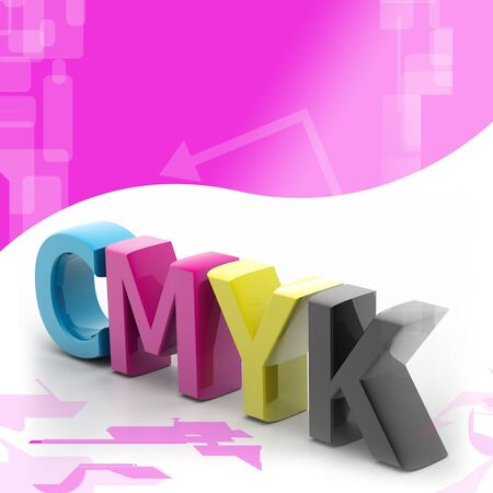 Highly rendering of cmyk in color background photo